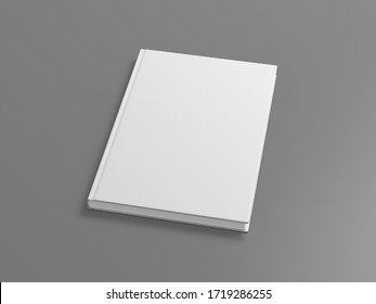 Blank book cover mock up on gray background. Side view. 3d illustration