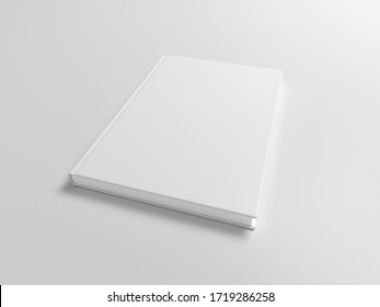 Blank book cover mock up on white background. Wide angle side view in perspective . 3d illustration