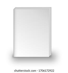 blank book cover mockup 3D illustration on white background.
