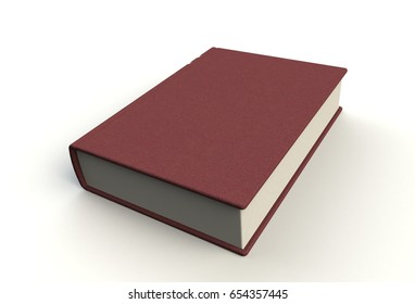 Blank book cover on white background, 3D rendering