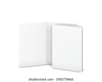 Blank booklet or brochure a4 bifolded mockup. 3d illustration on gray background