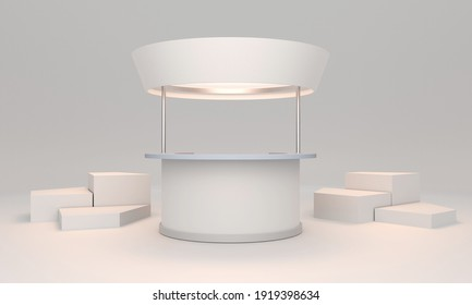 Blank Booth Counter Template, Promo POS Stand With Cubes, 3D render
