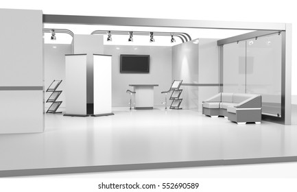 blank booth design in exhibition with tv display and roll-up, 3D rendering