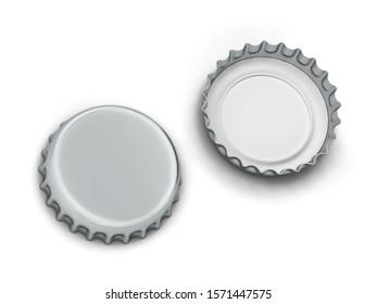 Blank bottle cap mockup. 3d illustration isolated on white background