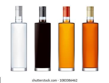 Blank bottles for alcohol drinks.