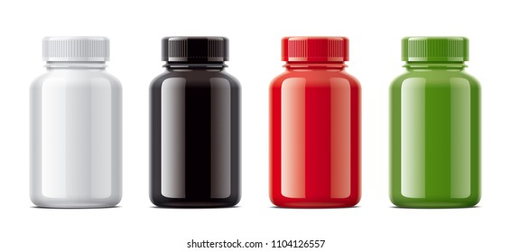 Blank bottles mockups for pills or other pharmaceutical preparations. Gloss colored version.