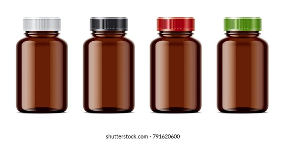 Blank bottles mockups for pills or other pharmaceutical preparations. Transparent dark bottles