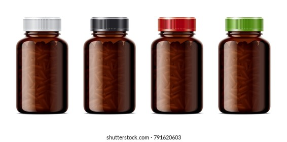 Blank bottles mockups for pills or other pharmaceutical preparations. Transparent dark bottles with pills.