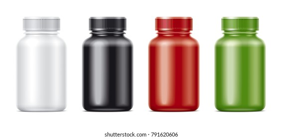 Blank bottles mockups for pills or other pharmaceutical preparations. Matts colored bottles
