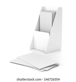 Blank box holder with leaflets or fliers. Render Isolated on white
