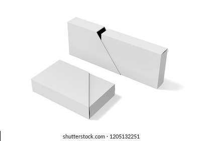 Blank box and slide trapezoid cover on isolated white background, mock up template for design presentation, 3d illustration