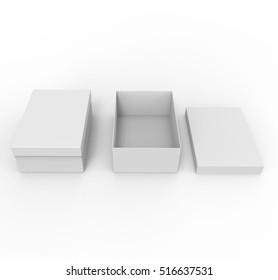 Blank boxes isolated on white background, Mockup for your Design. 3D illustration