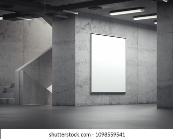 Blank bright indoor billboard on the grey walls in the gallery, 3d rendering