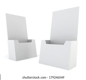 Blank brochure holder. 3d illustration on white background