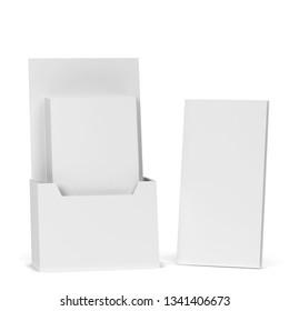 Blank brochure holder mockup. 3d illustration isolated on white background