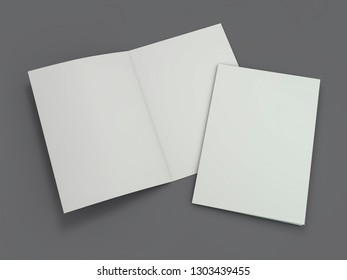 Blank Brochure magazine isolated to replace your design. 3D rendering