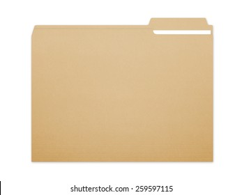 Blank brown card folder file with paper showing with a lot of copy space. Isolated on a white background with clipping path.