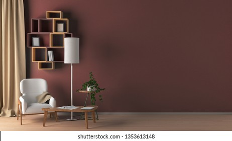 Blank brown wall in living room interior mock up with flooring, white chair, lamp, coffee table, bookshelf, plant, curtain. 3d render