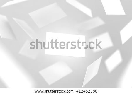 blank business cards falling 3d rendering namecard design mockup visiting clear cards mock