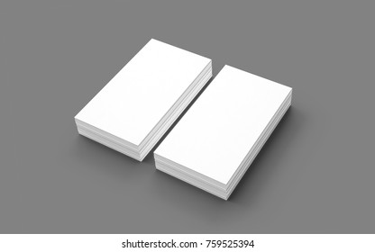 Blank business cards isolated on grey. 3d render. Template to showcase your presentation.