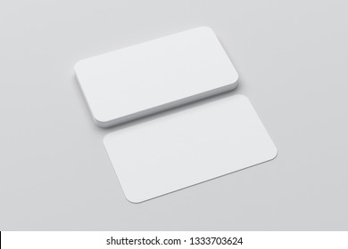 Blank  business cards with round corners on white background. 3d illustration
