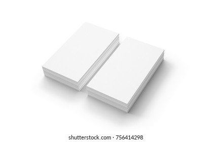Blank business cards stack isolated on white. Template to showcase your presentation.