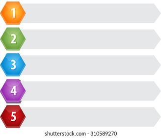 Blank business strategy concept infographic diagram illustration Hexagon Items Five