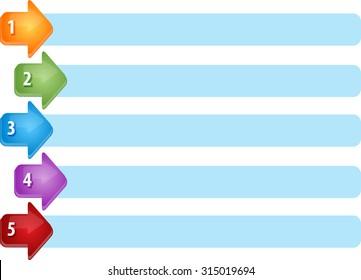 Blank business strategy concept infographic diagram illustration Arrow List Five