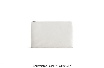 Blank canvas beautician with zipper mock up, isolated, 3d rendering. Empty fabric clutch mock up, front view. Clear accessory case for cosmetic or pencil. Eco beauty pouch template.