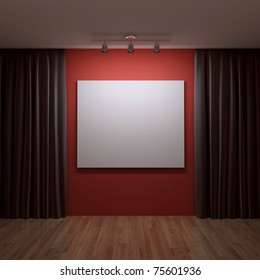 blank canvas on the red wall