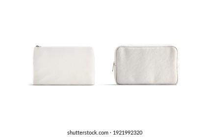 Blank canvas pouch and cosmetic bag mockup, front view, 3d rendering. Empty fabric or linen purse for toiletry storage mock up, isolated. Clear female container for makeup template.