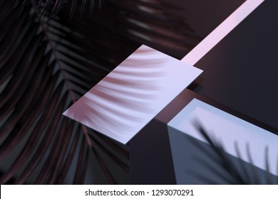 Blank card on architecture background with tropical plant shadow. 3d rendering.