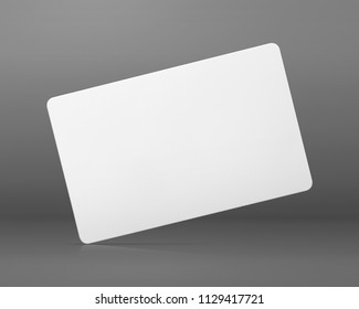 Blank card on grey background. Blank name tag for design.