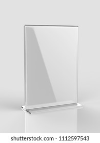 Blank Card stand type T type Table Tent. 3d render illustration.