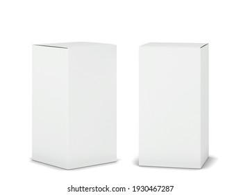 Blank cardboard box mockup. 3d illustration isolated on white background