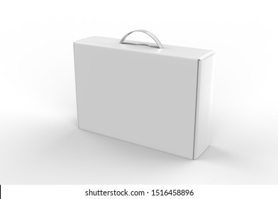 Blank cardboard box with plastic handle for branding and mock up. 3d render illustration.