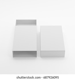 Blank Cardboard Sliding Box For Match Box & Gift Box  Mock-up Template On Isolated White Background, Ready For Your Design, 3D Illustration