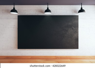 Blank chalboard on brick wall in room with wooden floor and ceiling with lamps. Mock up, 3D Rendering