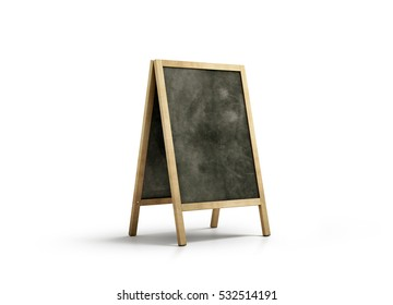 Blank chalk board street stand mockup, isolated, 3d rendering. Clear outdoor signage with blackboard mock up. A-board with wooden frame template. Cafe or restaurant welcome easel. Pavement menu rack