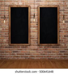 Blank chalkboard on brick wall with glowing light bulbs. 3D rendering