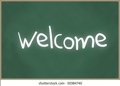 Blank chalkboard with wooden frame and the text welcome