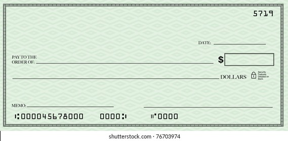 A blank check design with open spacing for you to place your own words