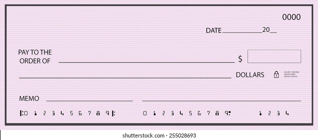 Blank check with generic pink background