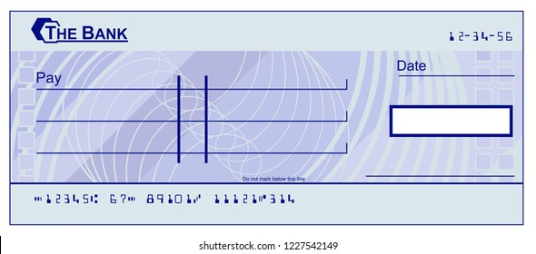 A blank cheque bank check book template illustration