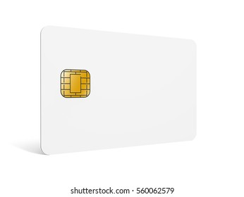 blank chip card, which can be designed in any way, isolated white background, 3d rendering