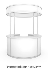 Blank circular trade stand. 3D rendered illustration.