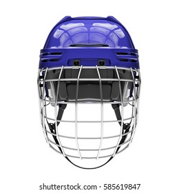 Blank of Classic Ice Hockey Helmet with Metal Facemask. Front view. Sport equipment. Template 3D render illustration. Isolated on a white background.