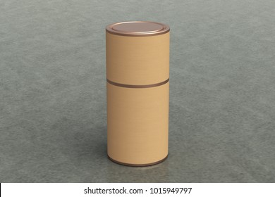 Blank closed kraft paper tube container packaging on gray background. Include clipping path around tube. 3d illustration