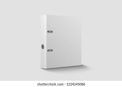 Blank closed office binder mock-up with metal rings on soft gray background.3D illustration