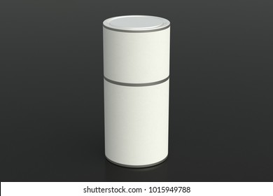 Blank closed white tube container packaging on black background. Include clipping path around tube. 3d illustration